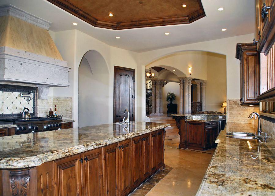 walnut kitchen cabinets granite countertops - kitchen