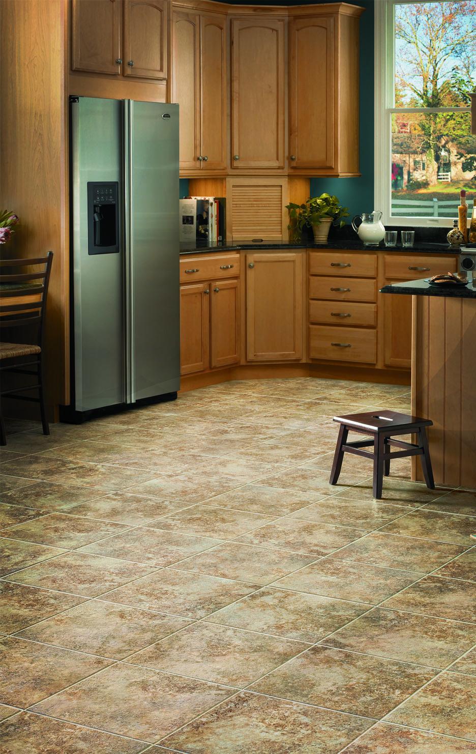 Vinyl floor tiles flooring installation vinyl flooring for Luxury kitchen flooring
